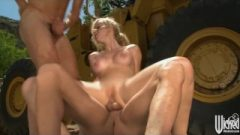 Gorgeous Golden-haired Jogger Receives Two Big-dicks In Extreme Threesome